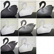 10 Swan Wedding Favour Boxes. Choose Colour - Choose Size. White, Black, Pearl, Matt